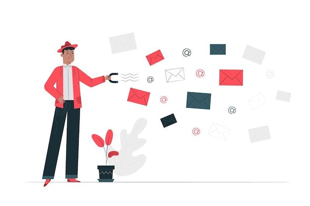 Illustration Du Concept De Capture De Courrier électronique Vecteur gratuit