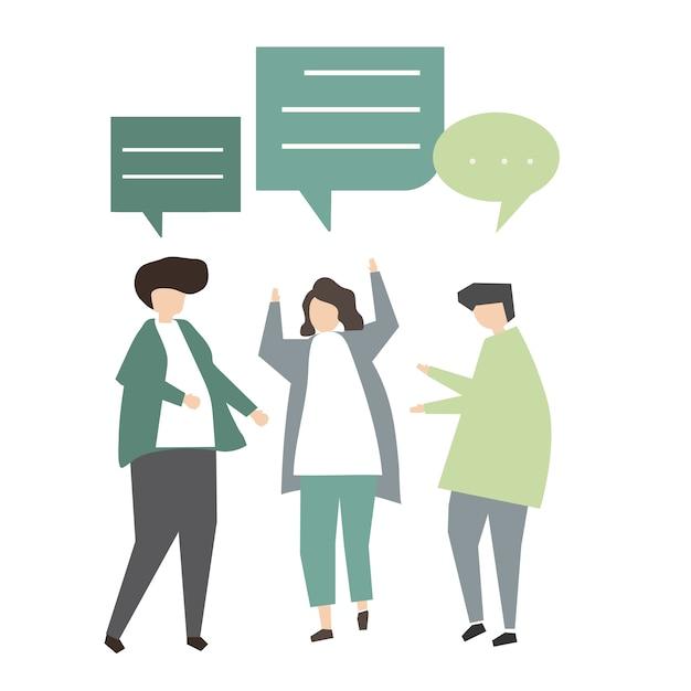 Illustration du concept de communication d'avatar Vecteur gratuit