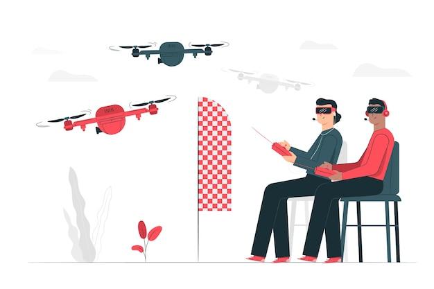 Illustration du concept de course de drone Vecteur gratuit
