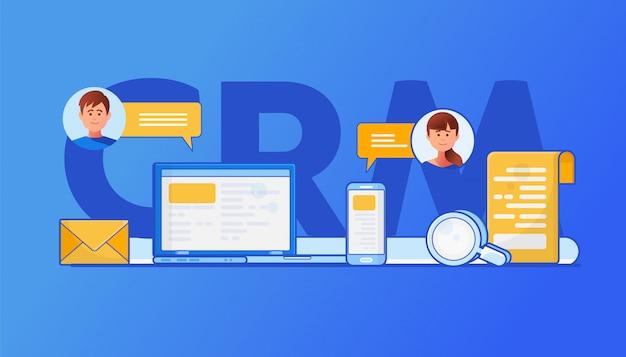 Illustration du concept crm Vecteur Premium