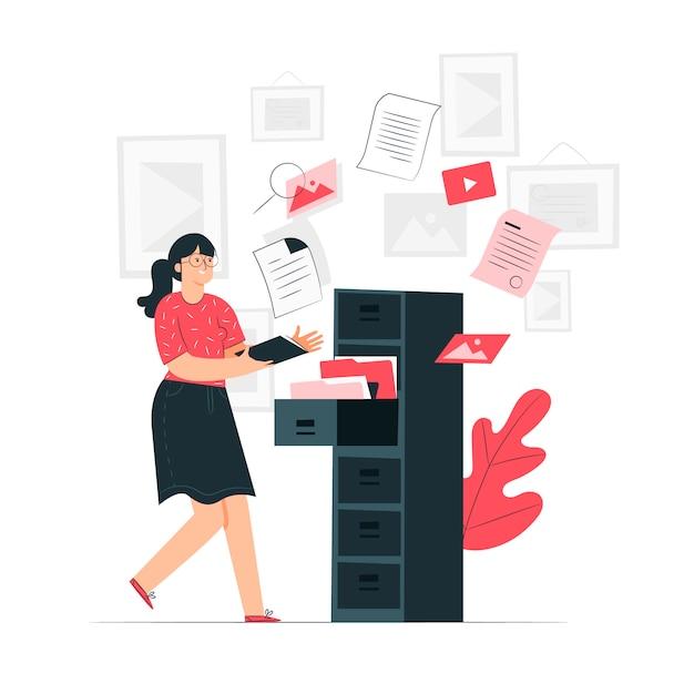 Illustration du concept de documents Vecteur gratuit