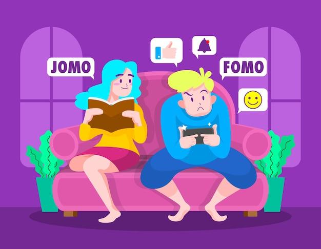 Illustration Du Concept Fomo Vs Jomo Vecteur Premium