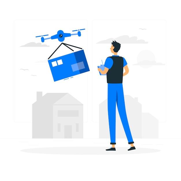 Illustration du concept de livraison de drone Vecteur gratuit