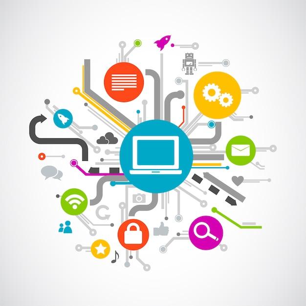 Illustration du concept de médias sociaux Vecteur gratuit