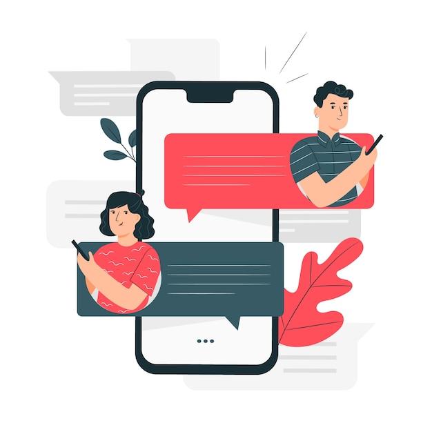 Illustration du concept de messages Vecteur gratuit