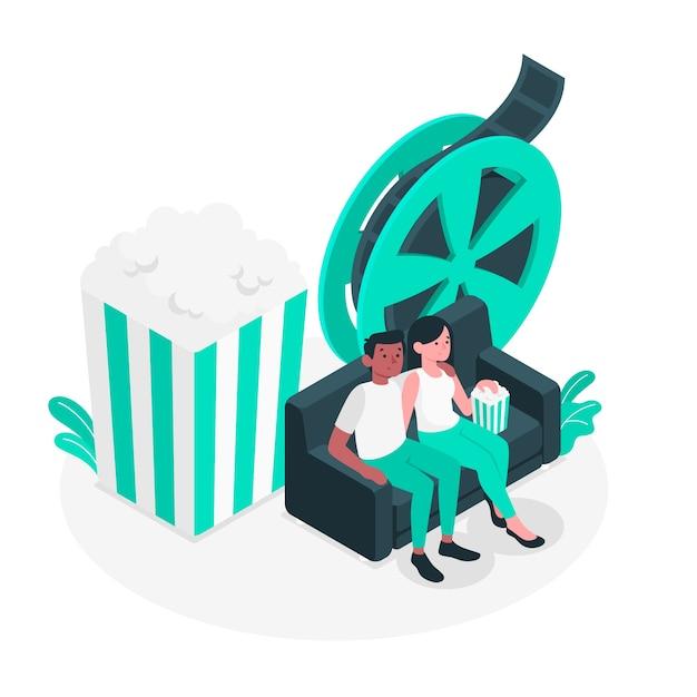Illustration du concept de nuit de film Vecteur gratuit