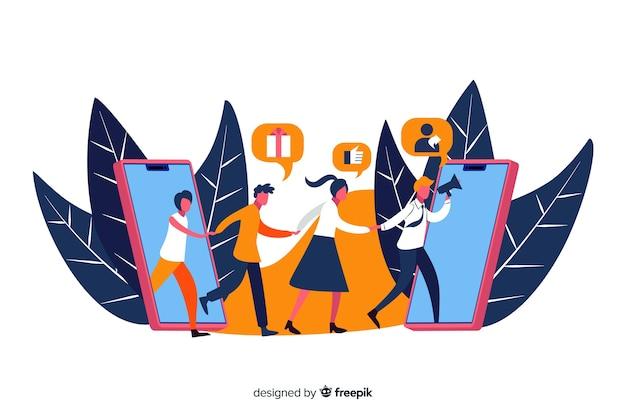 Illustration du concept de parrainage d'un ami Vecteur gratuit
