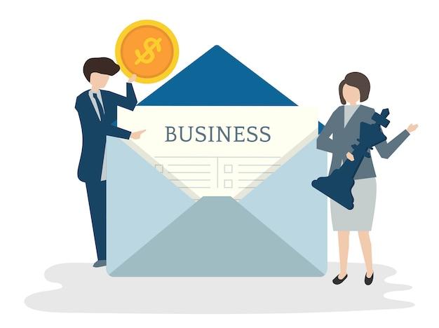 Illustration du concept de plan d'affaires avatar de personnes Vecteur gratuit