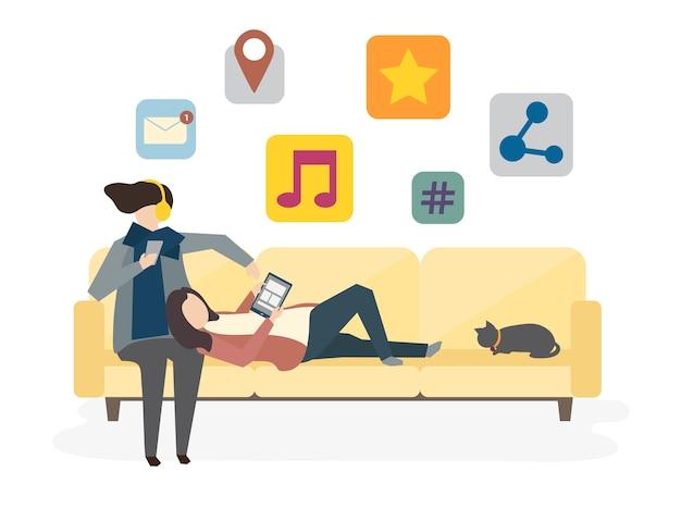 Illustration du concept de réseau social avatar Vecteur gratuit