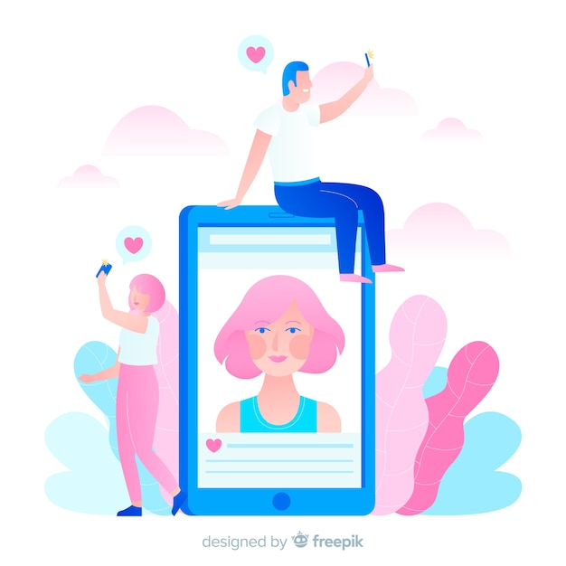 Illustration du concept de selfies Vecteur gratuit