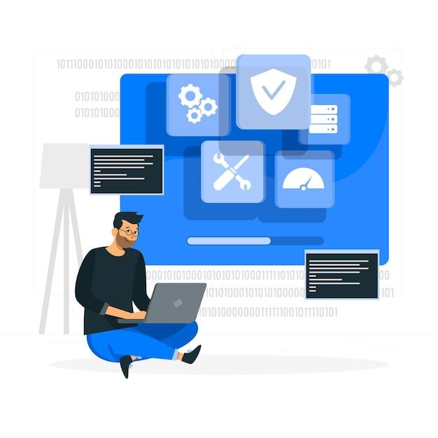 Illustration Du Concept De Système D'exploitation Vecteur gratuit