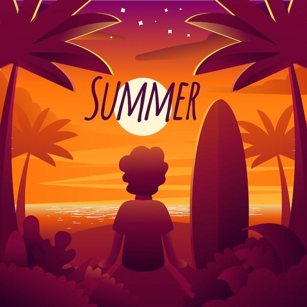 Illustration du coucher du soleil sur les vacances d'été Vecteur Premium