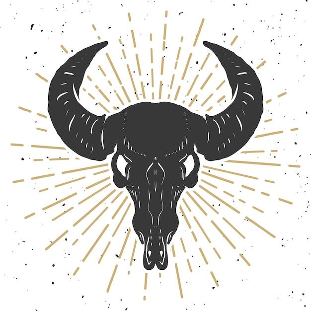 Illustration Du Crâne De Buffle Sur Fond Blanc. élément Pour Affiche, Emblème, Signe, T-shirt. Illustration Vecteur Premium