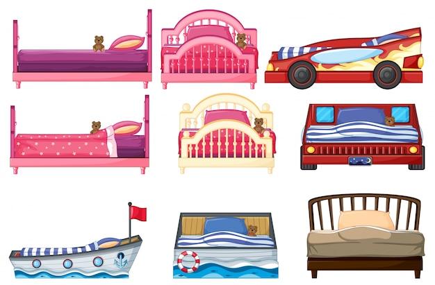 Illustration du design de lit différent Vecteur gratuit