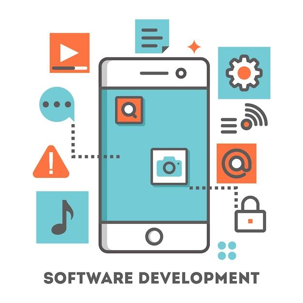 Illustration du développement d'une application mobile Vecteur Premium