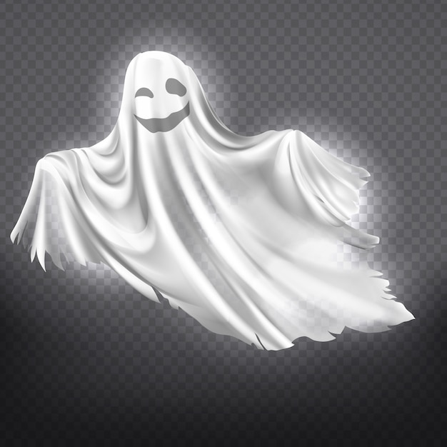 Illustration du fantôme blanc, souriant silhouette fantôme isolée sur fond transparent. Vecteur gratuit