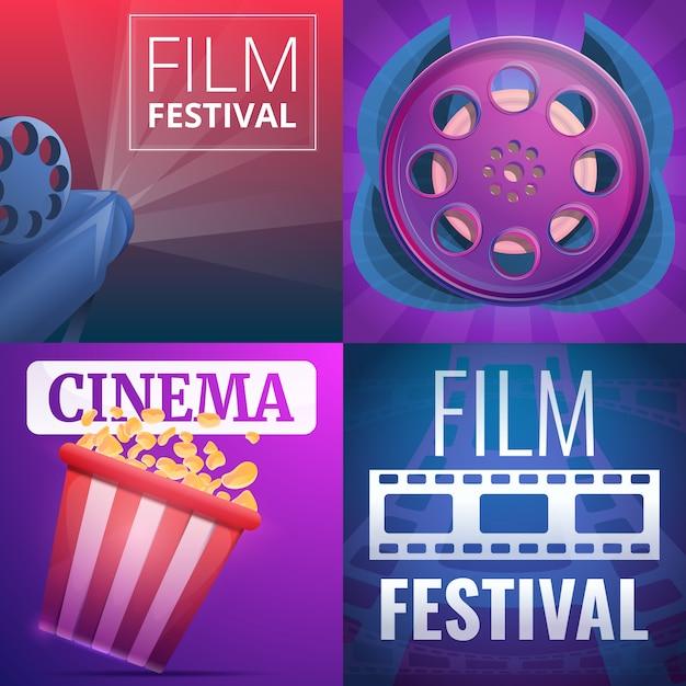 Illustration du festival du film sur le style de dessin animé Vecteur Premium