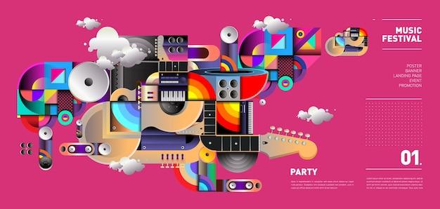 Illustration du festival de musique pour la fête et l'événement Vecteur Premium