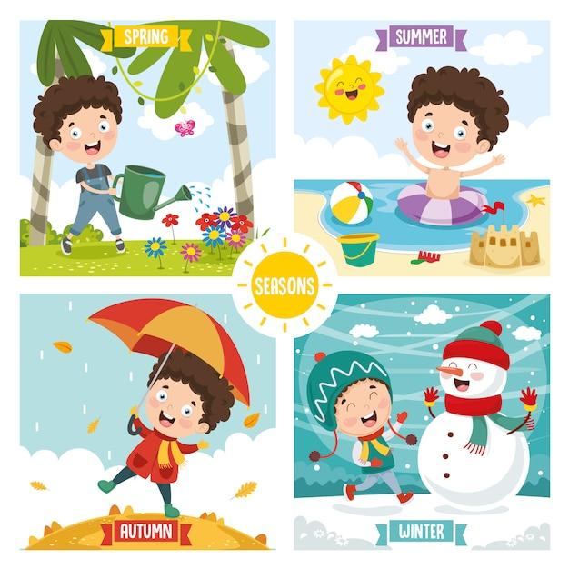 Illustration du gamin et des quatre saisons Vecteur Premium