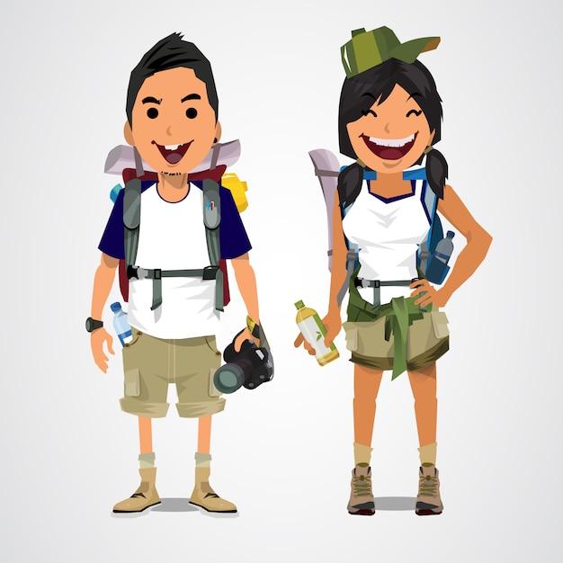 Une illustration du garçon et de la fille de tourisme d'aventure. Vecteur Premium