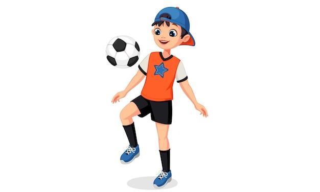 Illustration Du Garçon Jeune Joueur De Football Vecteur Premium