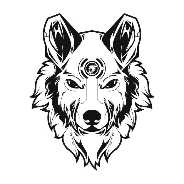 Illustration du grand loup et tshirt Vecteur Premium