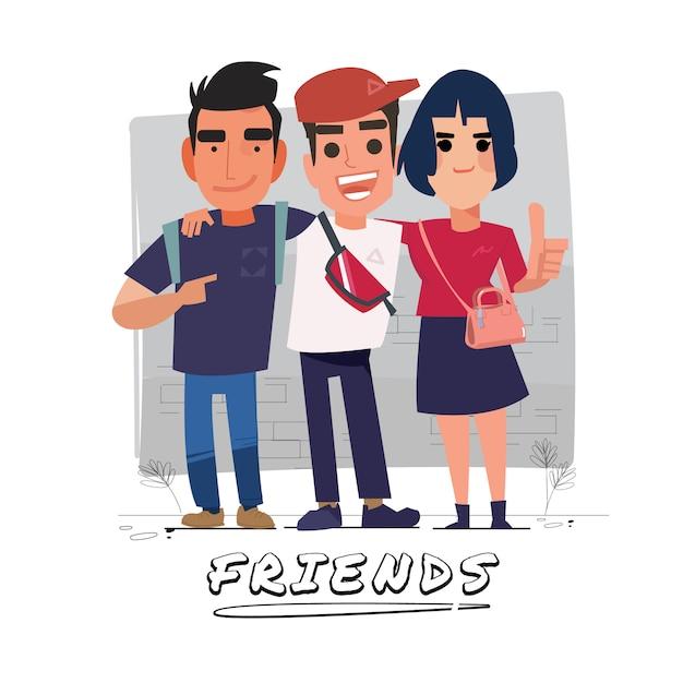 Illustration Du Groupe D'amis Vecteur Premium