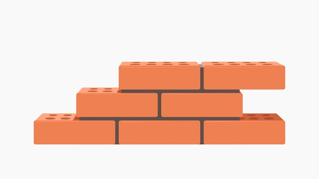 Illustration Du Groupe De Briques Rouges Réalistes Dans Un Mur Avec Du Ciment Isolé Sur Blanc Vecteur Premium