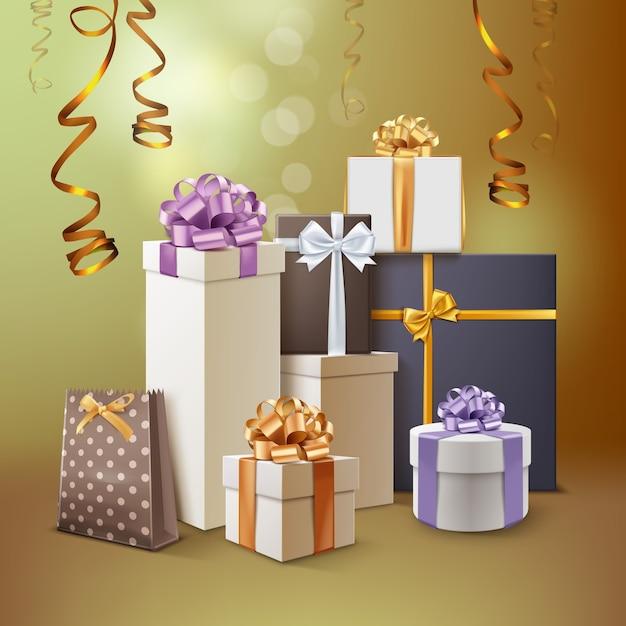 Illustration Du Groupe De Cadeaux. Coffrets Cadeaux Avec Des Rubans Et Des Arcs Isolés Sur Fond Doré Vecteur Premium