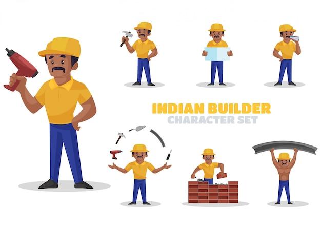 Illustration Du Jeu De Caractères De Constructeur Indien Vecteur Premium