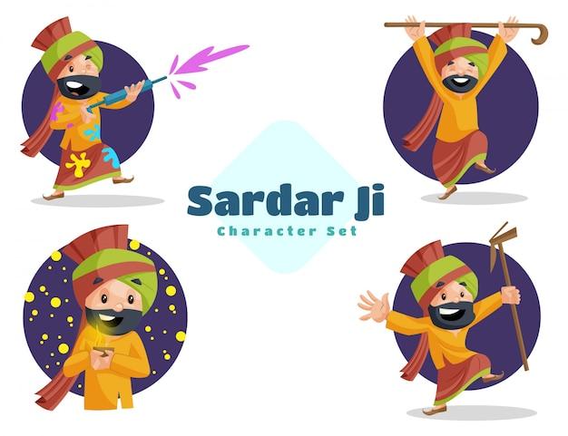 Illustration Du Jeu De Caractères Sardar Ji Vecteur Premium