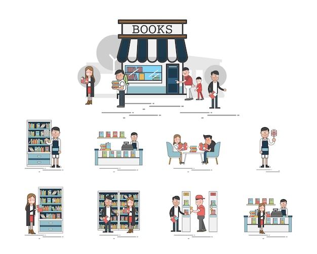 Illustration du jeu de vecteur de bibliothèque Vecteur gratuit
