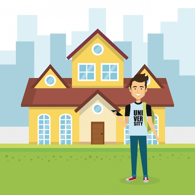 Illustration du jeune homme à l'extérieur de la maison Vecteur gratuit