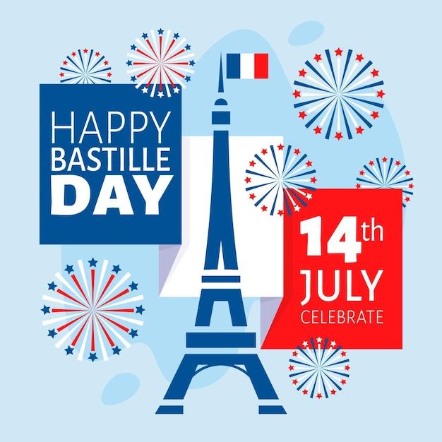 Illustration Du Jour De La Bastille Cocnept Vecteur gratuit