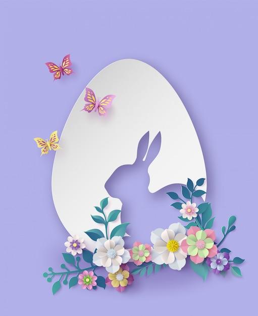 Illustration du jour de pâques avec oeuf et lapin Vecteur Premium