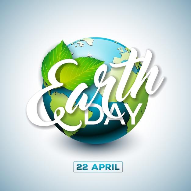 Illustration du jour de la terre avec la planète et la feuille verte. Vecteur Premium