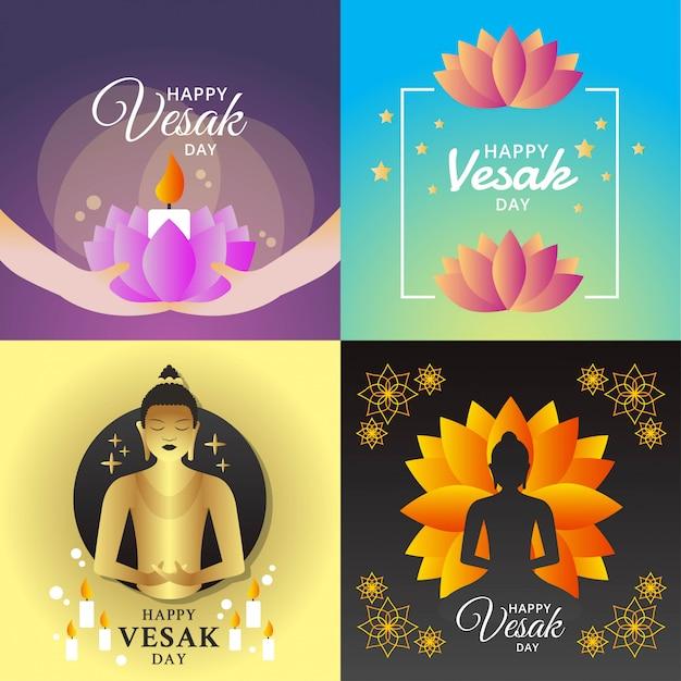 Illustration du joyeux jour de vesak Vecteur Premium
