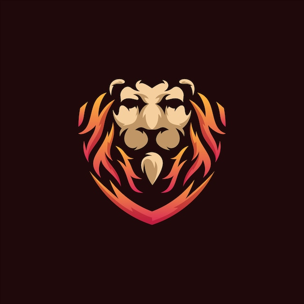 Illustration du logo de bouclier de lion Vecteur Premium