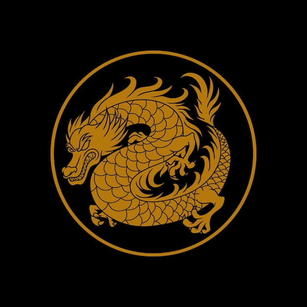 Illustration Du Logo Dragon Doré Vecteur Premium