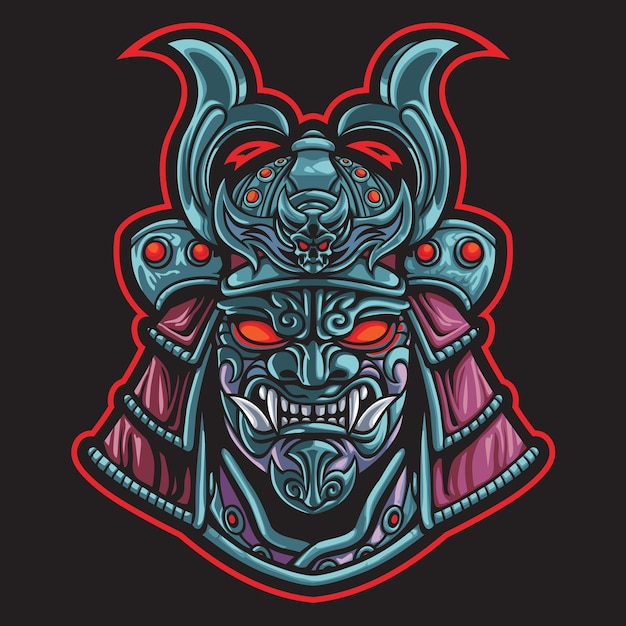 Illustration Du Logo Esport Devil Samurai Head Vecteur Premium