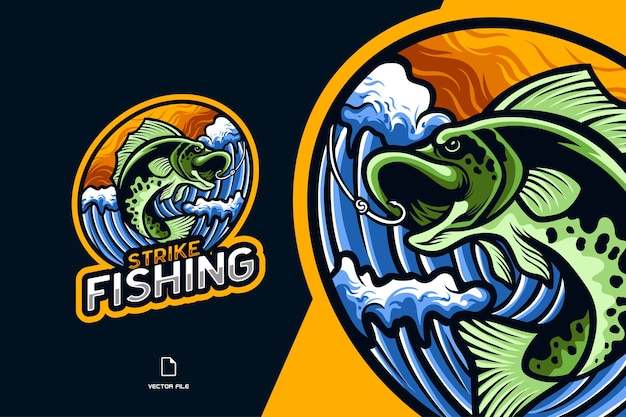 Illustration Du Logo Esport Mascotte De Pêche Au Poisson Pour Le Personnage De L'équipe De Jeu De Sport Vecteur Premium