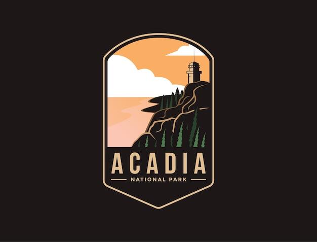 Illustration Du Logo Patch Emblème Du Parc National D'acadia Vecteur Premium