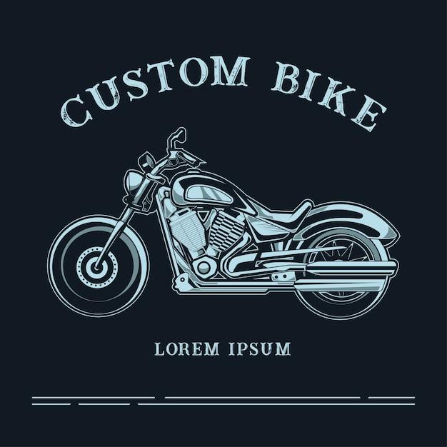 Illustration du logo de vélo personnalisé avec texte Vecteur Premium