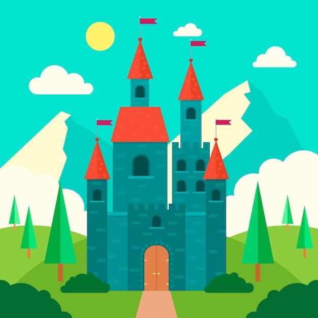 Illustration Du Majestueux Château De Conte De Fées Vecteur gratuit