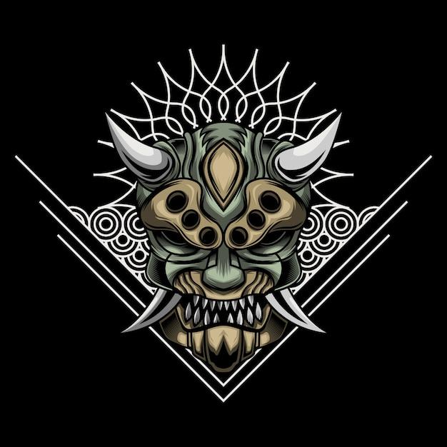 Illustration du masque de ronin en colère Vecteur Premium