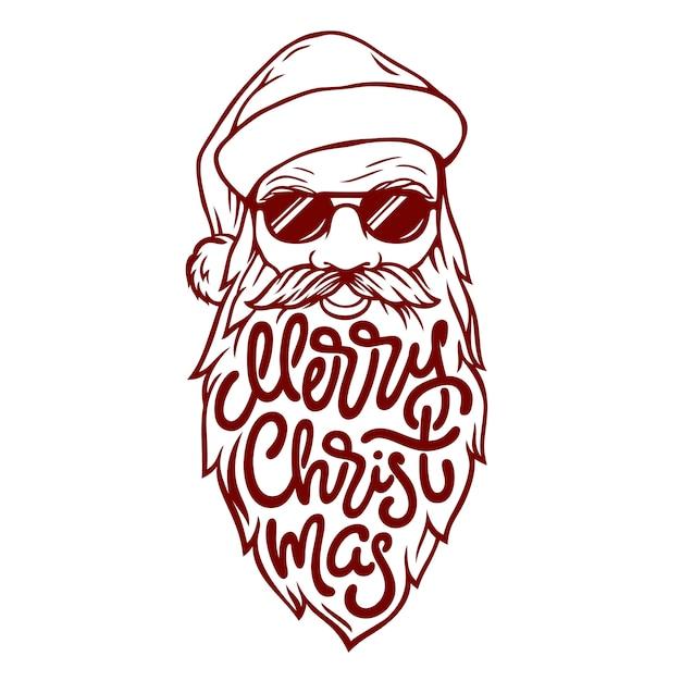 Illustration Du Mauvais Père Noël Dans Des Verres Avec Lettrage Joyeux Noël Sur Sa Barbe. Illustration Dans Un Style Vintage Sur Fond Blanc. Vecteur Premium
