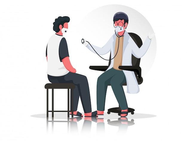 Illustration Du Médecin Homme Examinant Le Patient Par Stéthoscope Assis Sur Une Chaise Avec Un Masque Médical D'usure Pour Prévenir Le Coronavirus. Vecteur Premium