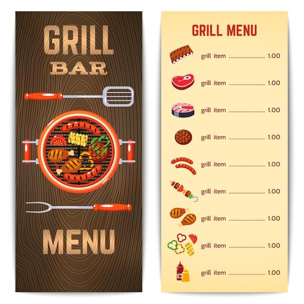 Illustration du menu grill Vecteur gratuit