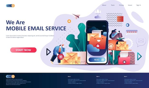 Illustration Du Modèle De Page De Destination Du Service De Messagerie Mobile Vecteur Premium