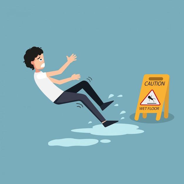 Illustration du panneau d'avertissement sol humide isolé. danger de glisser Vecteur Premium